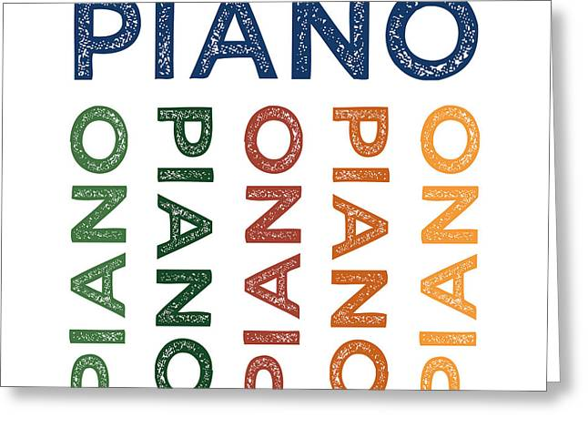 Piano Cute Colorful Greeting Card by Flo Karp