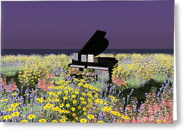 Greeting Card featuring the digital art Piano In Spring by Susanne Baumann