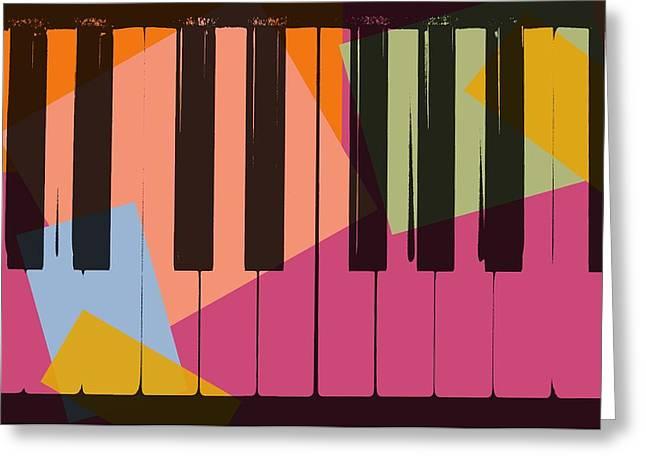 Piano Keys Pop Art Greeting Card by Dan Sproul