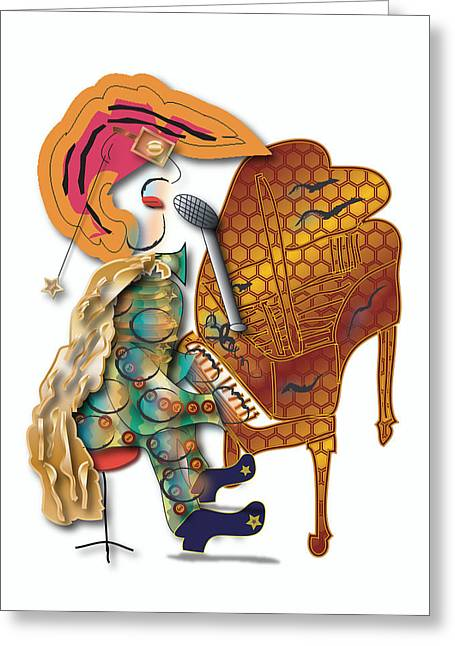 Greeting Card featuring the digital art Piano Man by Marvin Blaine