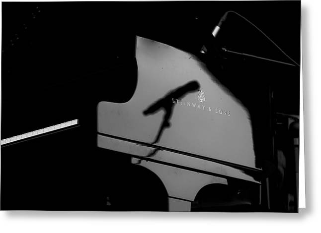 Piano Needs A Microphone Greeting Card by Tony Reddington