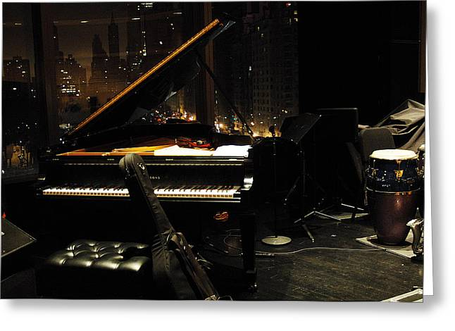 Piano Over Manhatten Greeting Card