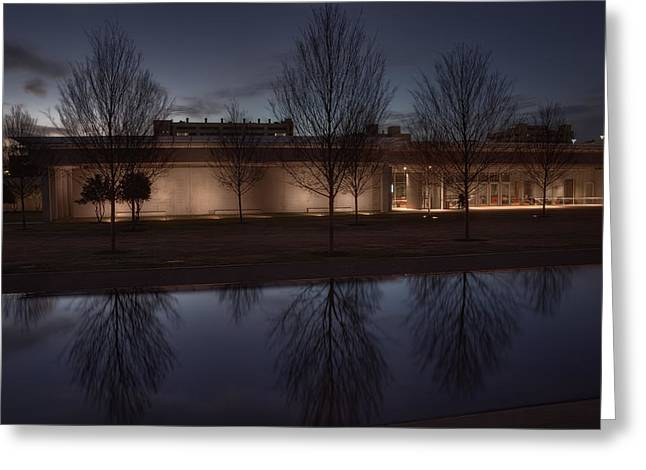 Piano Pavilion Night Reflections Greeting Card by Joan Carroll