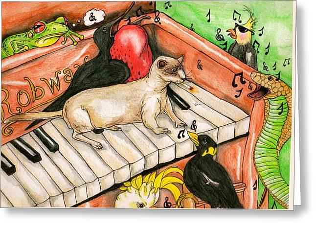 Piano Sing Along Greeting Card