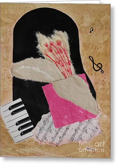 Greeting Card featuring the painting Piano Still Life by Mini Arora