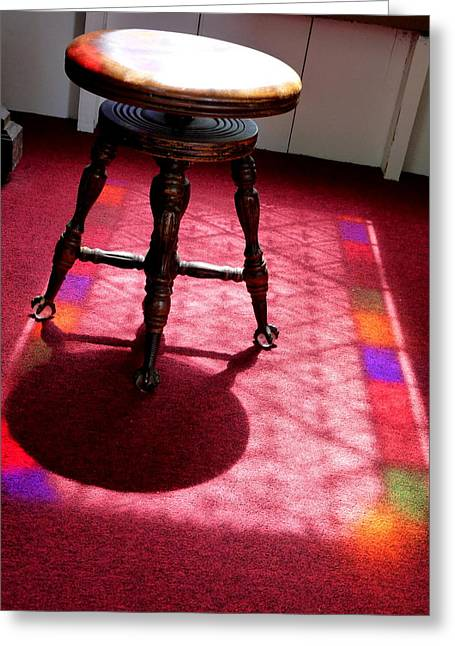 Piano Stool And Rainbow Light Greeting Card by Jeff Lowe