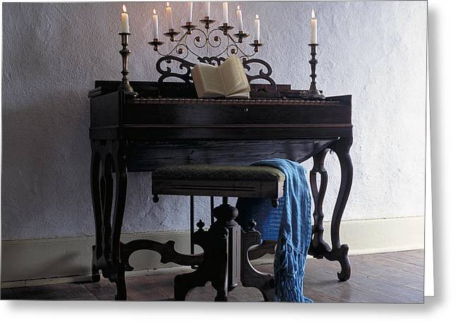Piano With Candelabra Greeting Card