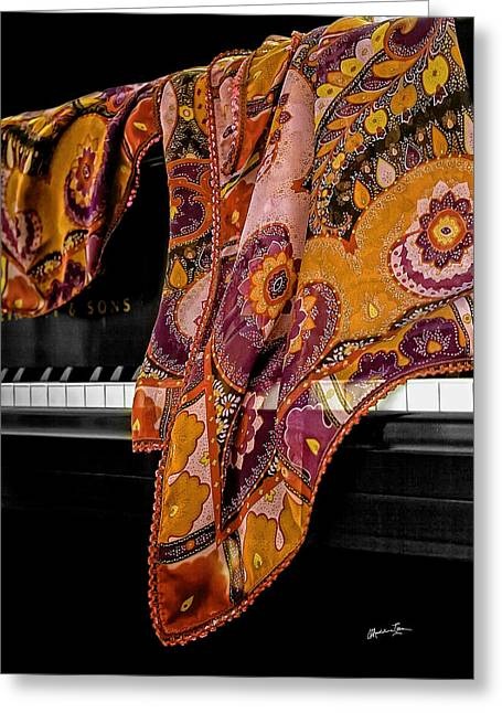 Piano With Scarf Greeting Card by Madeline Ellis