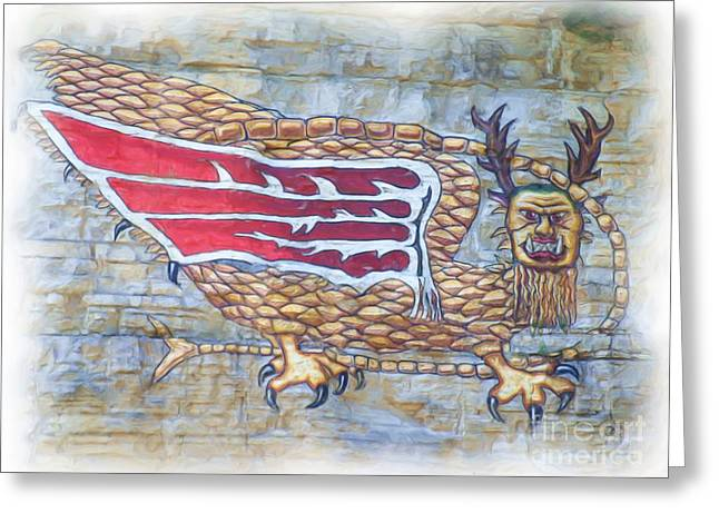 Greeting Card featuring the photograph Piasa Bird In Oils by Kelly Awad