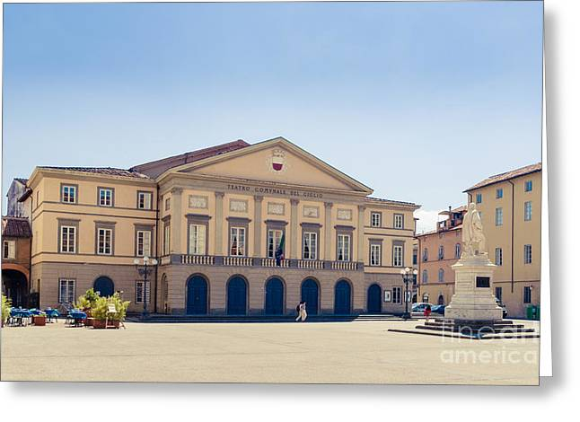 Piazza Del Giglio Teatro Comunale Del Giglio Lucca Tuscany Greeting Card by Peter Noyce