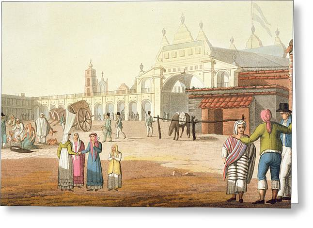Piazza Del Mercato, Buenos Aires Greeting Card by Paolo Fumagalli