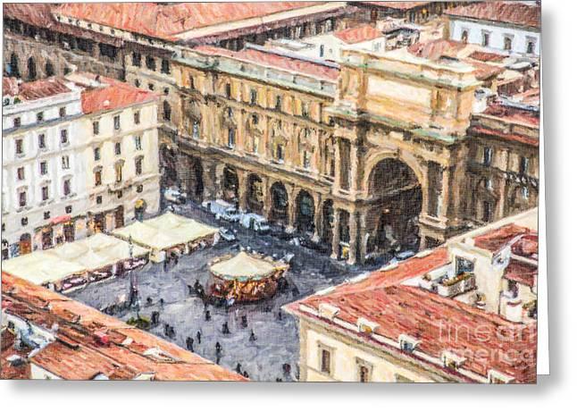 Piazza Della Repubblica Greeting Card by Liz Leyden