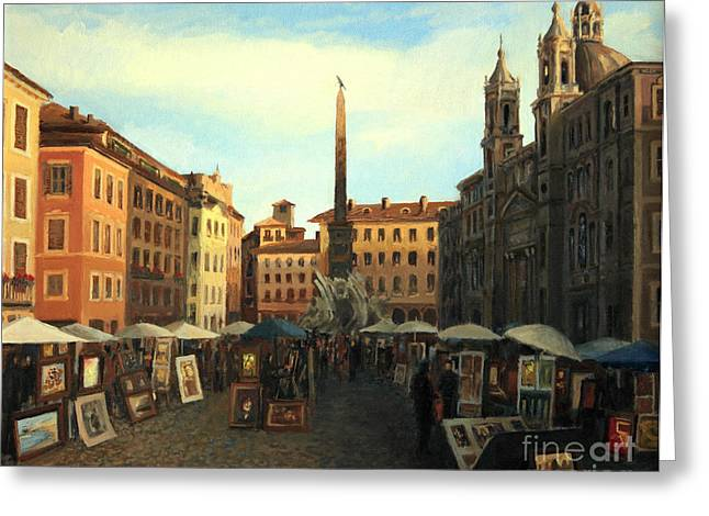 Piazza Navona In Rome Greeting Card by Kiril Stanchev