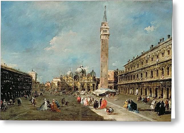 Piazza San Marco, Venice Greeting Card by Francesco Guardi
