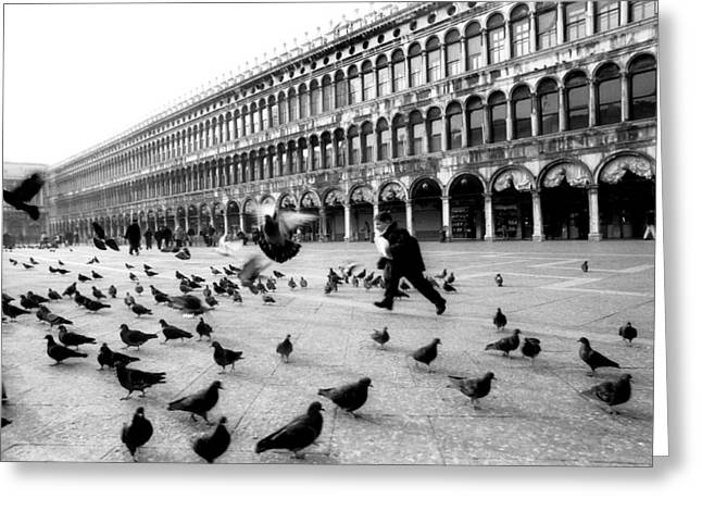 Piazza San Marco Venice Italy 1998 Greeting Card by Heidi Wild