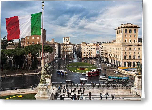 Greeting Card featuring the photograph Piazza Venezia by John Wadleigh