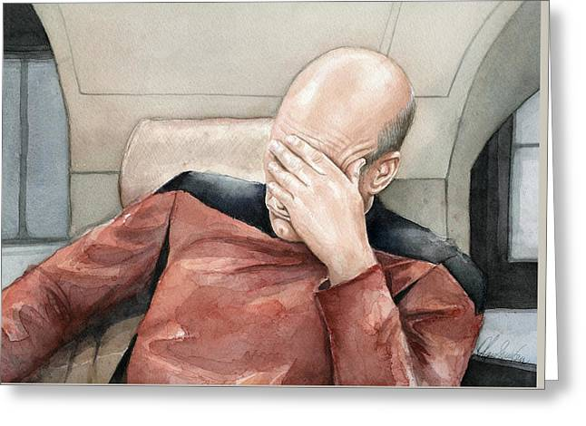 Picard Facepalm Meme Watercolor Greeting Card by Olga Shvartsur