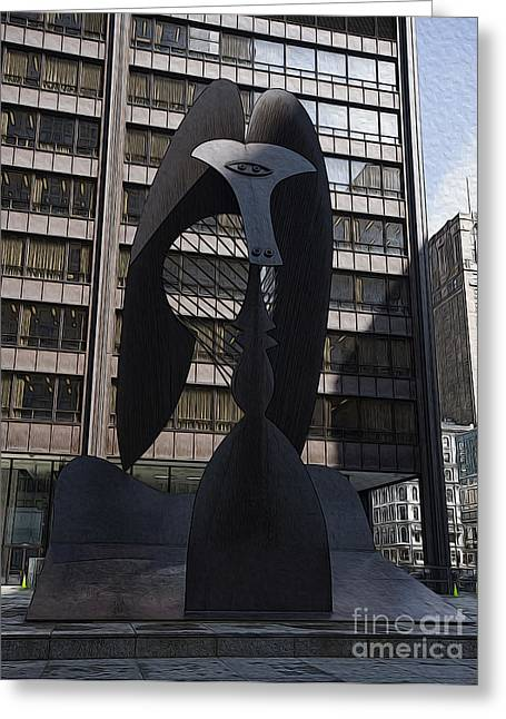 Picasso In Chicago Greeting Card