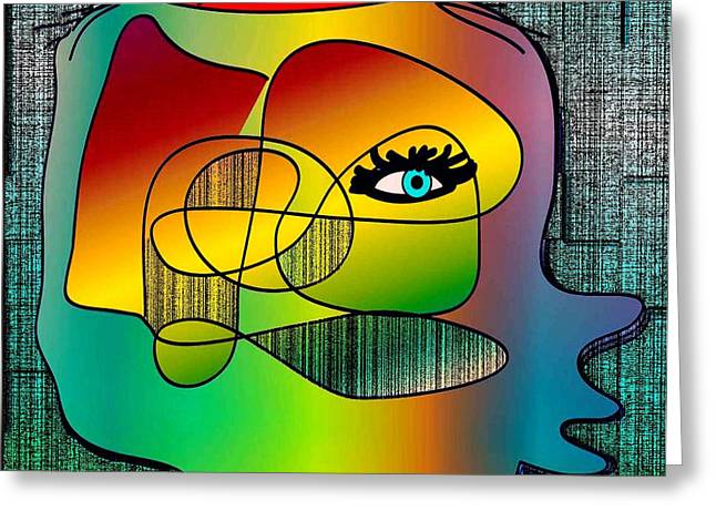 Picasso Inspired Cartoon Greeting Card by Iris Gelbart