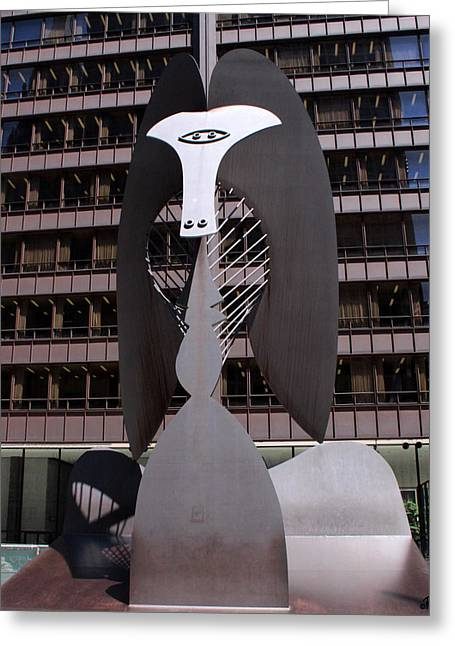 Picasso On The Plaza Greeting Card by Paul Anderson