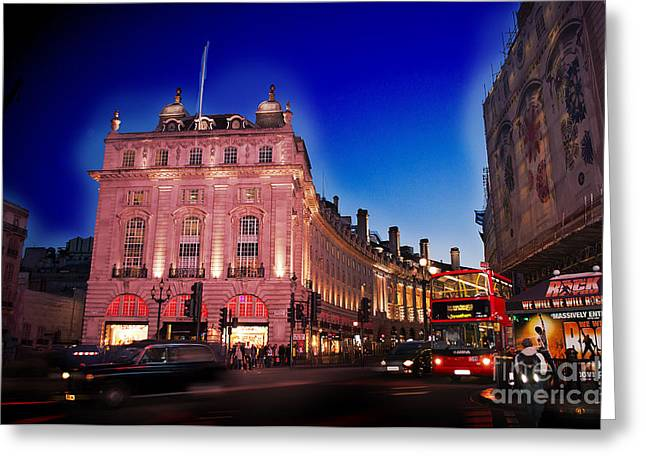 Piccadilly Circus At Dusk Greeting Card by MaryJane Armstrong