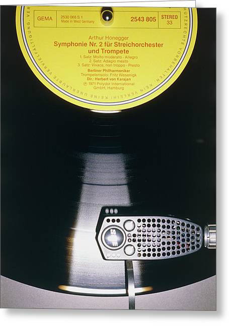 Pick-up Arm Of Garrard Turntable On Lp Record Greeting Card
