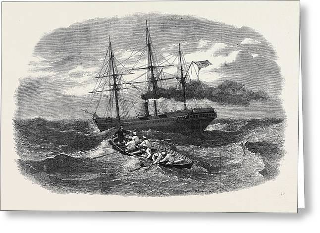 Picking Up A Man Overboard From The Peninsular And Oriental Greeting Card by English School
