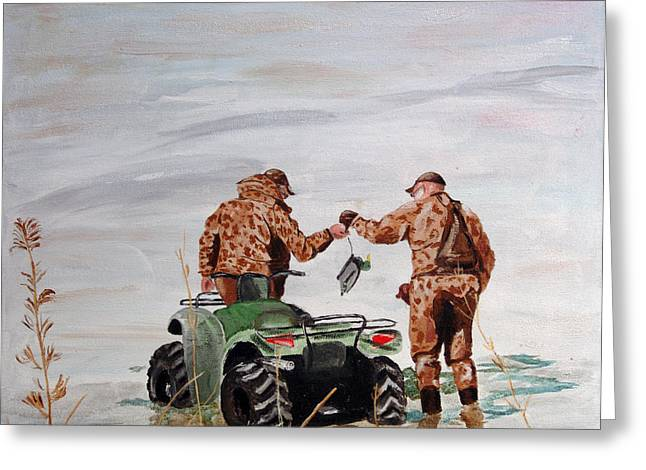Picking Up The Decoys Greeting Card by Kevin Callahan