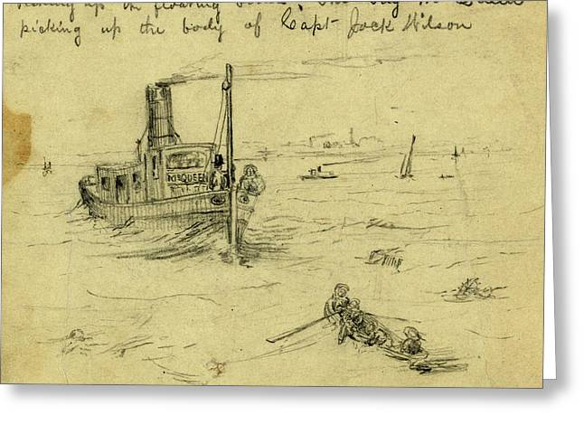 Picking Up The Floating Bodies. The Tug Mcqueen Picking Greeting Card by Quint Lox