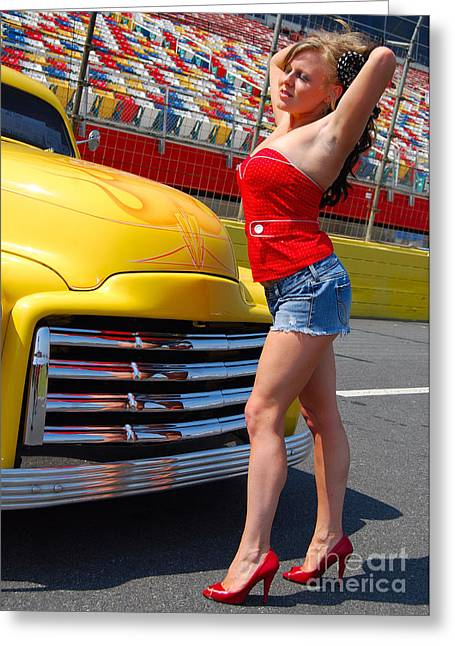 Pickup Pinup Greeting Card by Mark Spearman