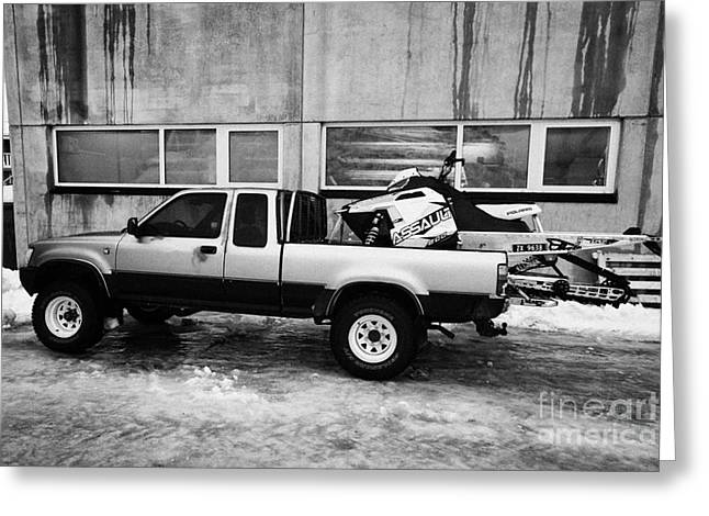 pickup truck parked carrying snowmobile Honningsvag finnmark norway europe Greeting Card