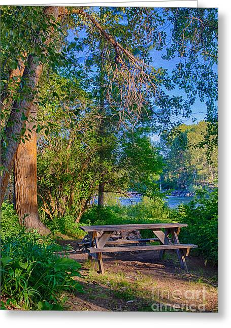Picnic By The Methow River Greeting Card