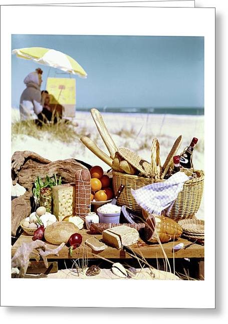 Picnic Display On The Beach Greeting Card