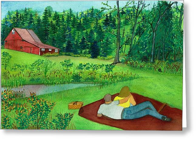 Picnic On The Farm Greeting Card