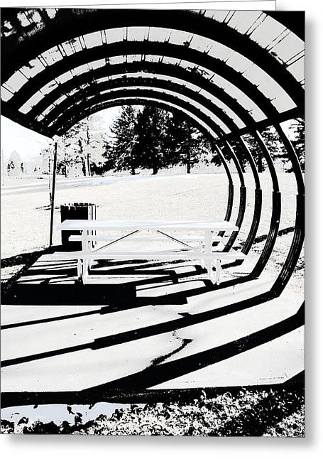 Picnic Table And Gazebo Greeting Card
