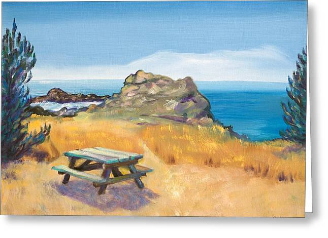Picnic Table And Ocean With Yellow Field Greeting Card by Asha Carolyn Young