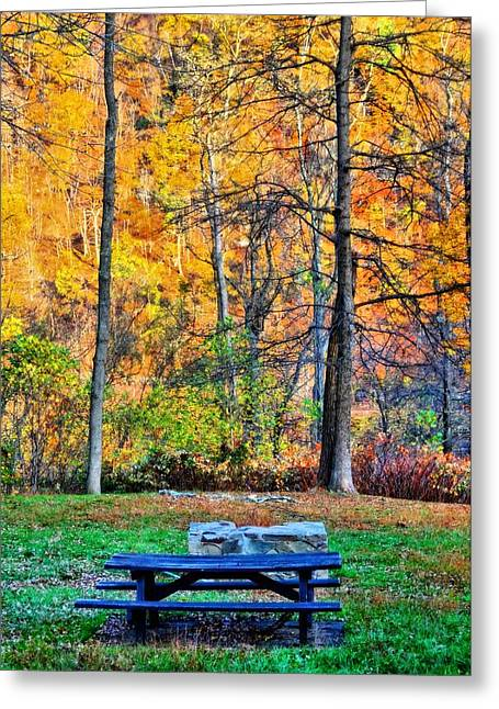 Picnic Table In Autumn Greeting Card by Dan Sproul
