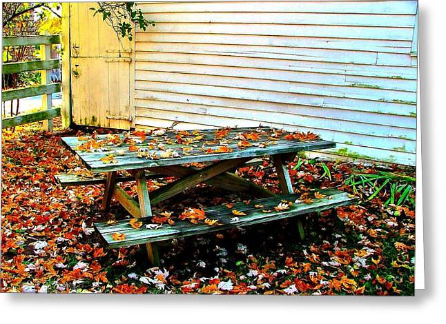 Picnic Table In Autumn Greeting Card