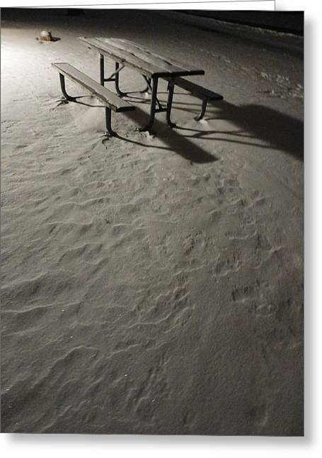 Picnic Table In The Untried Snow Greeting Card by Guy Ricketts