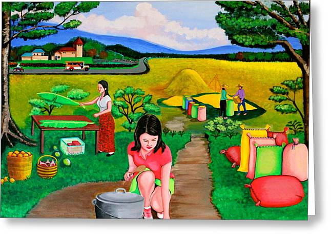 Greeting Card featuring the painting Picnic With The Farmers by Cyril Maza