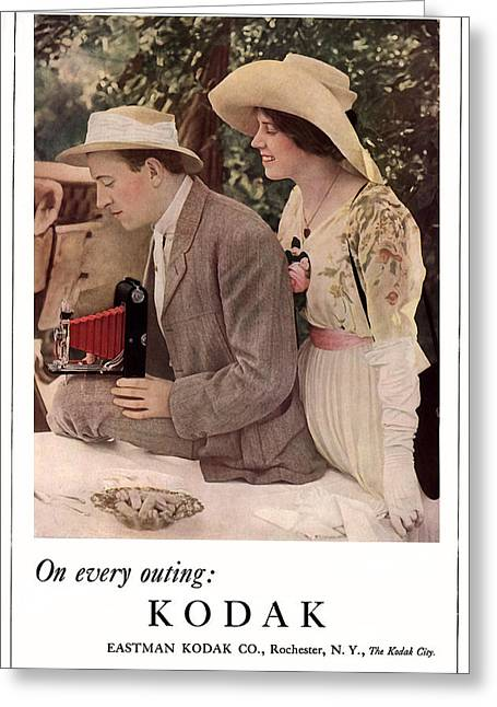 Picnic With The Roadster. Circa 1912. Greeting Card