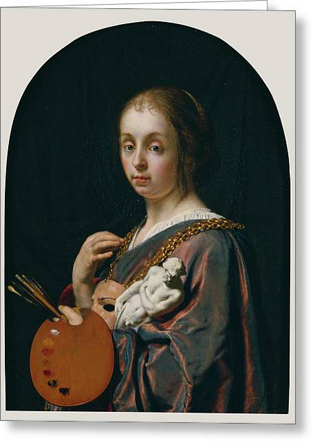 Pictura An Allegory Of Painting Frans Van Mieris The Elder Greeting Card by Litz Collection