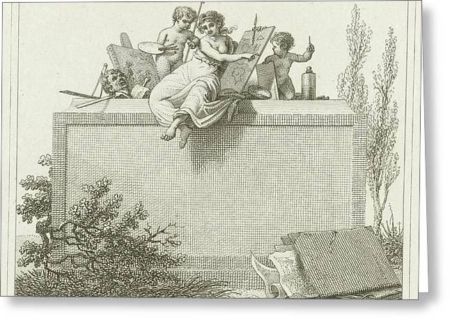 Pictura Flanked By Two Putti, Jacob Ernst Marcus Greeting Card