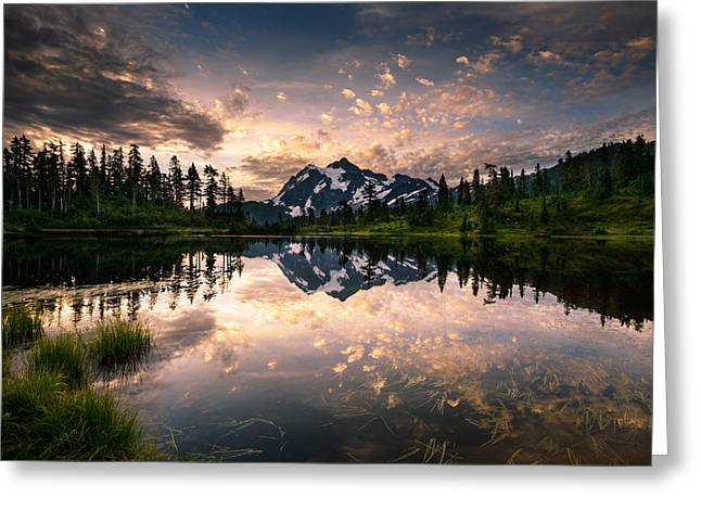 Greeting Card featuring the photograph Picture Lake Awakening by Dan Mihai