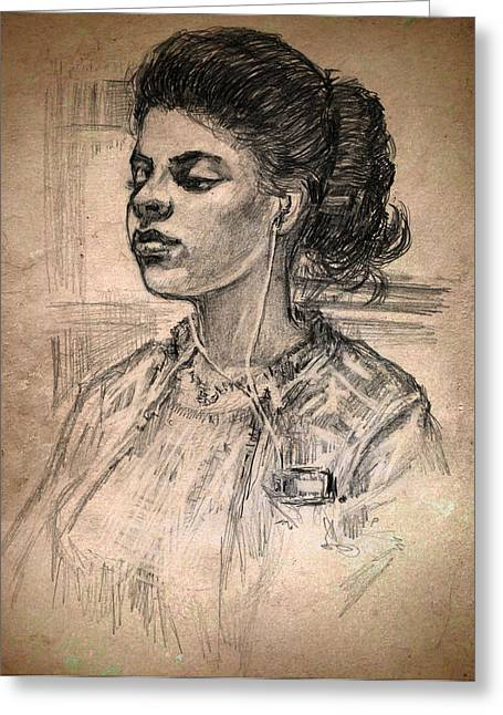 Picture Of A Girl Greeting Card by Michael Mynatt