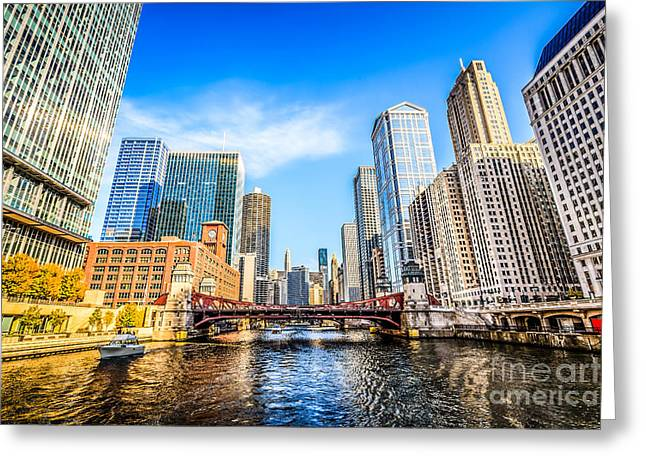 Picture Of Chicago At Lasalle Street Bridge Greeting Card
