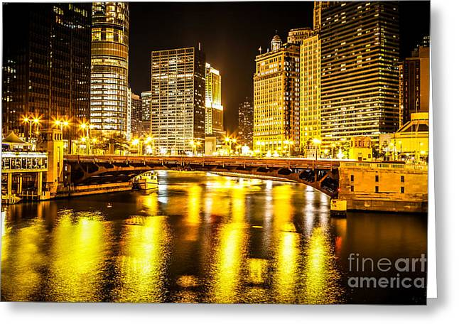 Picture Of Chicago At Night With State Street Bridge Greeting Card