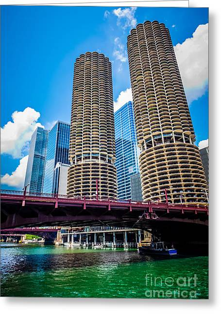 Picture Of Chicago Marina City Corncob Buildings Greeting Card by Paul Velgos