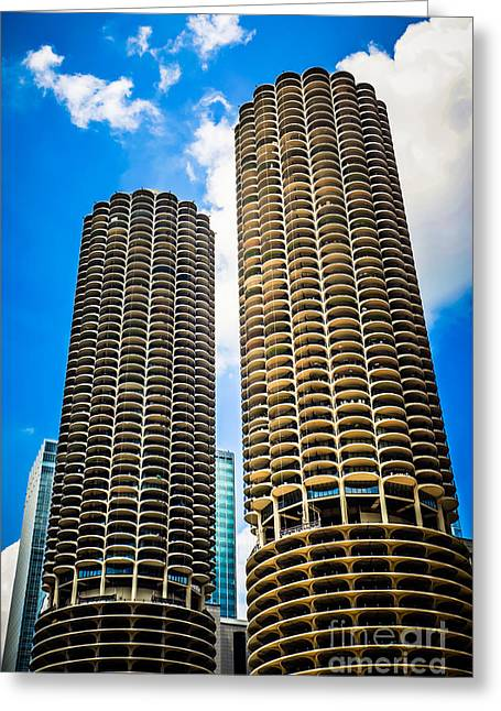 Picture Of Chicago Marina City Towers Greeting Card by Paul Velgos