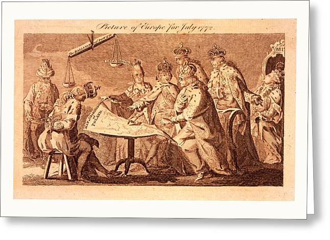 Picture Of Europe For July 1772, Catherine II, Leopold II Greeting Card